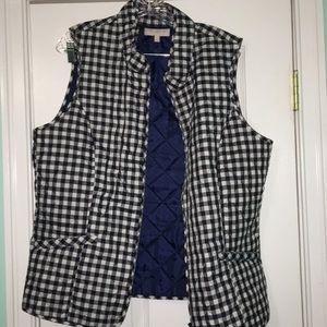 Blue and white checkered vest